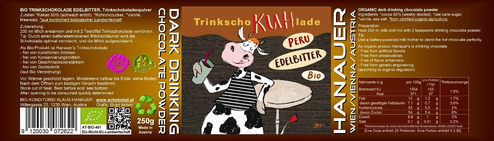 Bio Trink SchoKUHlade Edelbitter Etikett