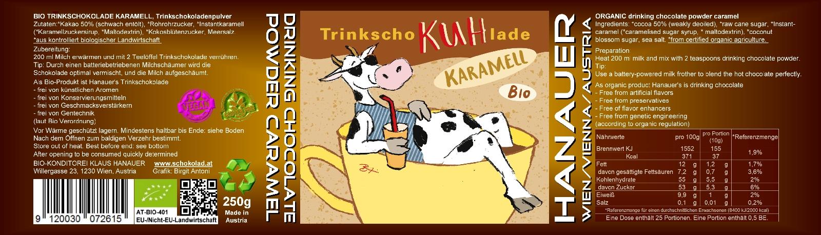 Bio Trink SchoKUHlade Karamell Etikett