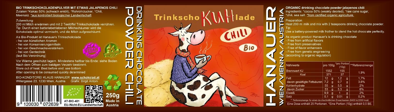 Bio Trink SchoKUHlade Chilli Etikett