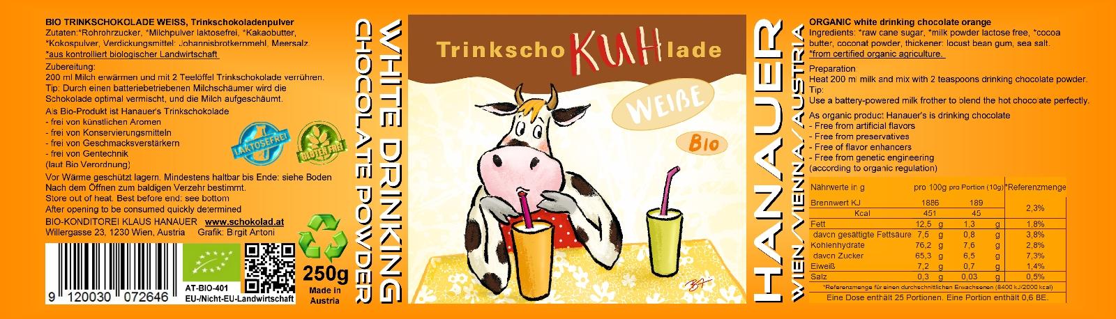 Bio Trink SchoKUHlade Weiss Etikett