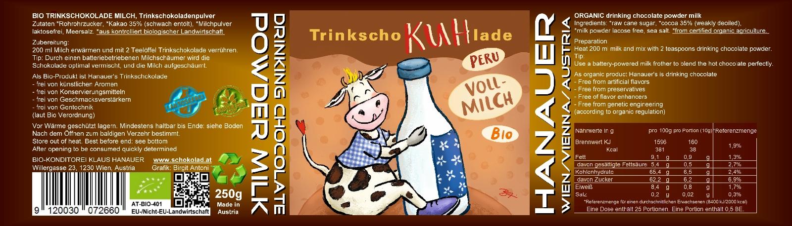 Bio Trink SchoKUHlade Milch Etikett