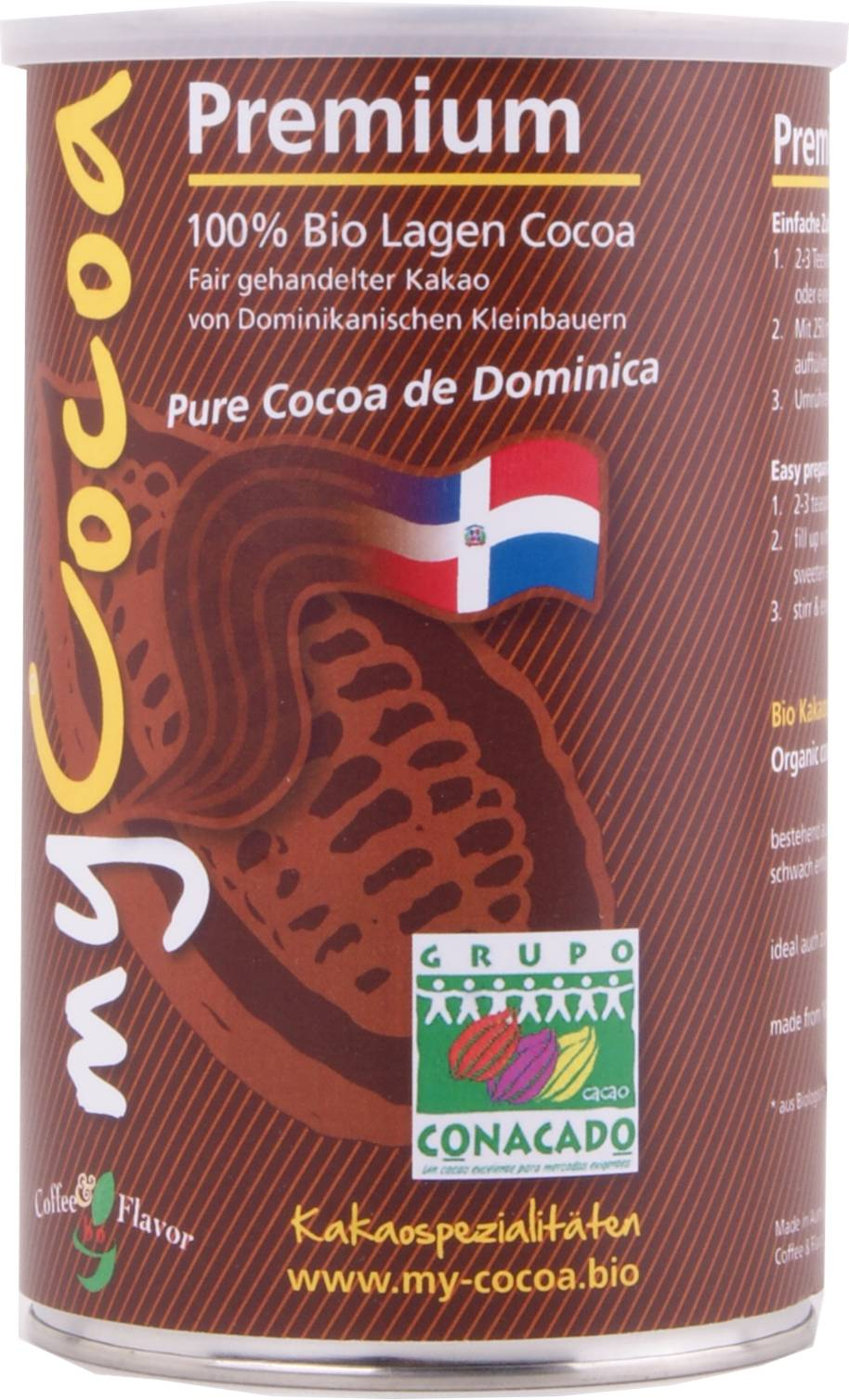 Bio MyCocoa 100 Prozent reiner Lagencacao aus der Dom. Rep