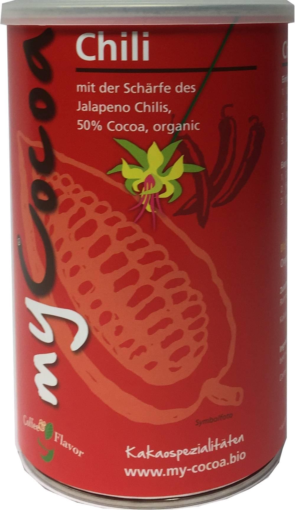 Bio MyCocoa mit der Schärfe des Jalapeno Chilis